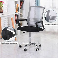 1pc Office Chair Home Desk Chair Computer Adjustable Rolling Swivel Mesh Chair #affilink Chair, Furniture, Home Decor, Stool, Interior Design, Home Interior Design, Arredamento, Home Decoration, Decoration Home