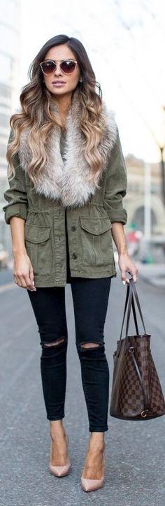 Military Coat / Fashion look by Mia Mia Mine #fashion