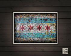 Chicago Flag of ChicagoHand painted Flag of Chicago by ArtForLoft