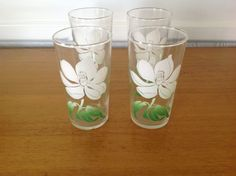 Vintage 1950's set of 4 Federal Glass Magnolia by TheWelcomeTable, $27.50