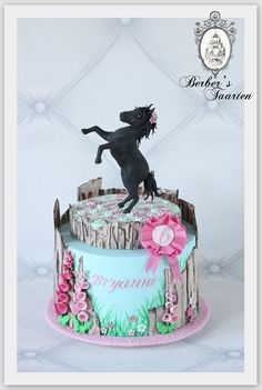 Black fondant horse cake. Wooden panels. Birthday cake.