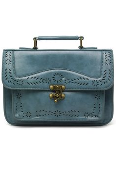 Blue Vintage Satchel Bag with Cut Out Detail