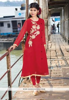 Refreshing Red Georgette Party Wear Kurti