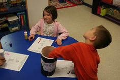 Space centers- Do with letters b and d or vowel sounds to help them differentiate.