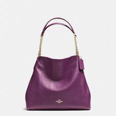Coach Large Pebbled Leather Phoebe Shoulder Bag Plum Purple Gold Chain Accents #Coach #ShoulderBag