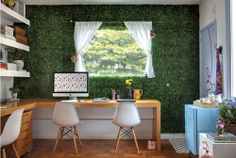 fake grass wall in the home office