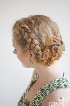 Twist and Pin braided updo for curly hair