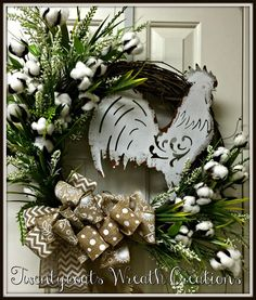 Farmhouse grapevine cotton boll wreath with by Twentycoatswreath