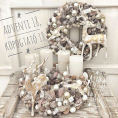 Christmas Advent Wreath, Pink Christmas, Holiday Wreaths, Christmas Crafts, Holiday Decor, Christmas Arrangements, Holiday Centerpieces, Christmas Tree Decorations, Christmas Villages