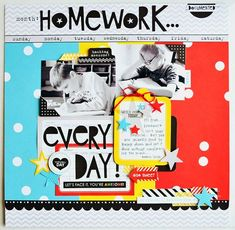 Bella Blvd Mix and Match Collections: Scattered Sprinkles and Classic Calendars. Homework layout by Wendy Sueanderson