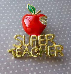 #Enamel brooch #apple, #super teacher,  View more on the LINK: http://www.zeppy.io/product/gb/2/232132132099/