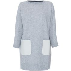M.Patmos Grey Leather Pocket Sweater Dress ($895) ❤ liked on Polyvore featuring dresses, grey, embellished dresses, pocket dress, long sleeve dresses, grey dress and crew neck sweater dress