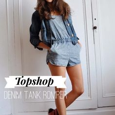 ::Topshop:: Denim Tank Romper Shorts in Acid Wash In great condition, super cute! Size US 12 (Main photo is a stock photo not of actual item, may differ slightly) Topshop Shorts