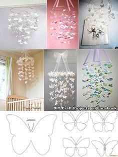 Mobile de borboletas de papel com molde