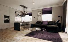 canapé gris anthracite moderne avec stores, tapis et coussins aubergine