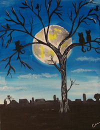 Painting Party San Antonio, Sip and Paint, Bachelorette and Birthday Parties,Whimsy Art Studio, San Antonio Texas Art Paintings, Art Images, Moonlight, Art For Kids, Art Projects, Arts And Crafts, Kitty, Teacher, Club