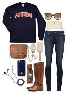 """""""lazy day"""" by the-southern-prep ❤ liked on Polyvore featuring J Brand, Tory Burch, Ray-Ban, Philip Kingsley, Michael Kors and Marc by Marc Jacobs"""
