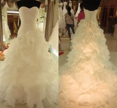 2013 New Arrival Real Picture Bridal Gown Organza Ruffle Luxury Tiered Wedding Dress Long Train  $208.03 - 249.29
