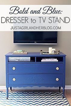 dresser to tv stand transformation, home decor, living room ideas, painted furniture, Bold and Blue A Dresser to TV Stand Transformation