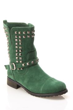 Shoe Republic Abigail Studded Ankle Boot In Hunter Green - Beyond the Rack