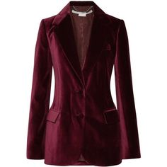 Stella McCartney Velvet blazer ($1,520) ❤ liked on Polyvore featuring outerwear, jackets, blazers, velvet jacket, burgundy velvet blazer, blazer jacket, burgundy velvet jacket and loose jacket