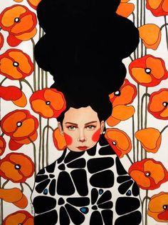 Hülya Özdemir paints portraits of women Born in Istanbul, Turkey, the artist endows her characters with multiple vibrant colours and very long hair, almost li Art And Illustration, Painting Inspiration, Art Inspo, Frida Art, Arte Pop, Grafik Design, Watercolor Art, Pop Art, Art Projects