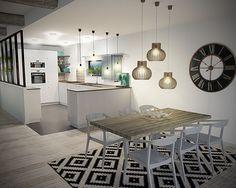 Cuisine salle à manger, scandinave, 3D, grande horloge, tapis noir et blanc, verrière My Living Room, Home And Living, Hygge Home, Interior Decorating, Interior Design, Home Staging, Home Decor Inspiration, Home Renovation, Home Kitchens