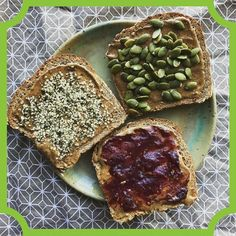 Happy Hempy Monday Breakfast was made by @graphicelement9  Yum! Couldn't decide what I wanted on my toast. So I just made all three #vegan #veganfoodshare #veganbreakfast #vegancommunity #vegansofinstagram #veganfood #plantbased #fitfam #plantbaseddiet #toast #hempseeds #pumpkinseed #pbj #yumyum #hempfood #hemphearts #hempprotein