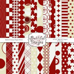 Digital Paper Pack Sports Teams Colors Red and Cream Personal and Commercial Use (612)