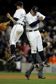 Detroit Tigers Brandon Inge and Miguel Cabrera celebrate a win!