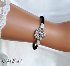 Pure Silver Celtic Knot Bracelet in Black and Silver by NMBeadsJewelry