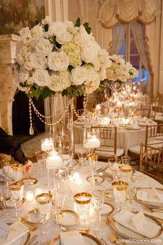 elegant white and crystal centerpiece wedding rosecliff mansion newport ri