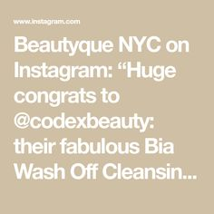 """Beautyque NYC on Instagram: """"Huge congrats to @codexbeauty: their fabulous Bia Wash Off Cleansing Oil was just voted Best Cleanser in the Mature Skin category of the…"""" Cleansing Oil, Clean Beauty, Cleanser, Awards, Nyc, Instagram, Cleaning Agent, Cleanses, New York City"""