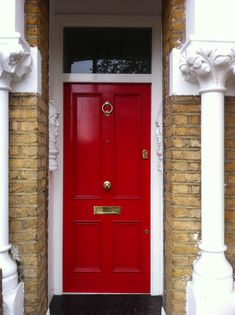Red Victorian front door in north London Victorian Front Doors, Entrance Ideas, North London, Home Decor Inspiration, Tall Cabinet Storage, Art Deco, Red, House, Haus