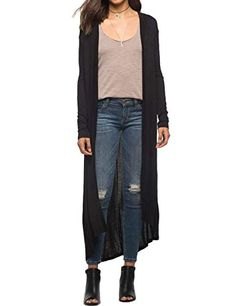 BegoniaK Womens Long Sleeve Open Front Lightweight Maxi Hooded Duster Cardigan Black Small * Click image for more details.