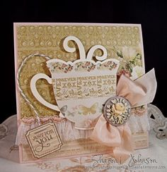 Tea cup card using Spellbinders dies, Webster's Pages paper and embellishments and May Arts Silk, from The Stamp Simply Ribbon Store.