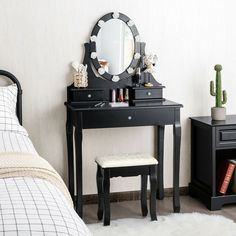 This dressing table will give you a perfect makeup experience! The 360-degree rotatable mirror allows you to easily adjust the required angle. It is equipped with 3 drawers to provide you with larger storage space for cosmetics and jewelry. The pinewood legs make the dresser stable while guaranteeing its long-term service life. The elegant style of the dressing table makes it ideal to add decor to your home. It is suitable to be placed in your bedroom, living room, and other locations.