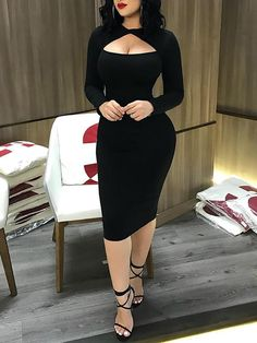 Cut Out Front Long Sleeve Bodycon Midi Dress Classy Dress, Classy Outfits, Chic Outfits, Sexy Outfits, Dress Outfits, Tight Dresses, Sexy Dresses, Fashion Dresses, Bandage Dresses