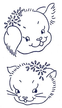 puppy and kitten by K0dama, via Flickr /sewinggal4/vintage-embroidery/ over 1,000 pins