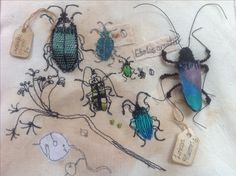 Mixed media textile embroidery . 'Nature collections'