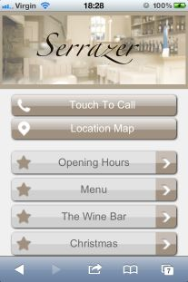 Fine dinning restaurant mobile website design. Mobile phones come in a bewildering number of shapes and sizes and very small screens. In the same way some of us have thin nimble fingers while some of us are challenged with the fat finger syndrome. It's important therefore that in designing your mobile website that it caters for all types of phones and all types of fingers. For more tips on mobile site design - http://localviralbuzz.co.uk/mobile-phone-website-design-services/