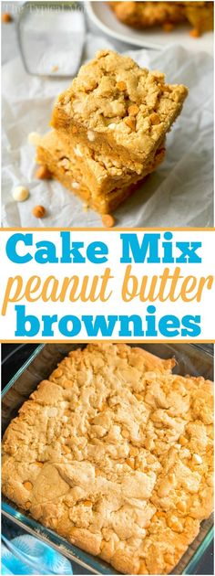 You have got to try these cake mix peanut butter cookie brownies! Rich peanut butter flavor with white chocolate chips that are an ooey gooey dessert everyone in the house will love. They're so easy because you use yellow cake mix as the base and amp it up with nuts and peanut butter. The best quick treat ever. #cakemix #brownies #peanutbutter #easy via @thetypicalmom