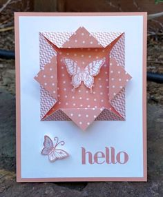 handmade greeting card featuring an origami fold frame/window ... pink and white ... butterflies ... like how two-sided paper looks in the frame ... Stampin' Up!