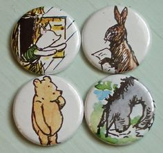Winnie the Pooh Upcycled Magnets 4 by recyclemoe on Etsy