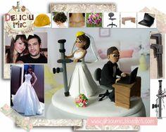 Deliciu Mic - Figurine de tort nunta mire si mireasa Bijuterii Handmade si Accesorii Handmade: CUTE - Figurine de tort pentru nunta - Mire s... Wedding Cakes, Figurine, Wedding Gown Cakes, Cake Wedding, Wedding Cake, Wedding Pies