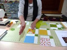 """How to Simply Sash 5"""" Squares - Quilting Tips & Techniques 054. The Gourmet Quilter builds each 5"""" block into a larger square block with sash and post block on 2 sides. You have less risk of things getting out of kilter as you might when you run rows of sash and blocks."""