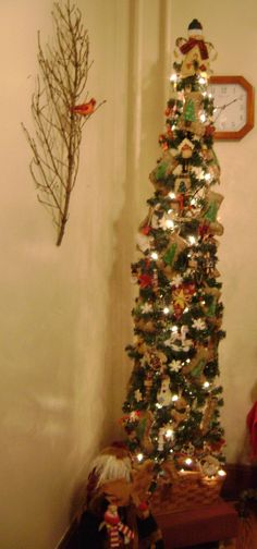 Slim pencil country Christmas tree in my breakfast room 2012 Skinny Christmas Tree, Pencil Christmas Tree, Country Christmas Trees, All Things Christmas, Christmas Home, Christmas Tree Decorations, Halloween Decorations, Merry Christmas, Holiday Decor