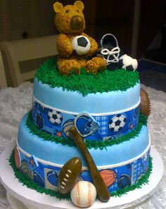 - Sports baby shower cake