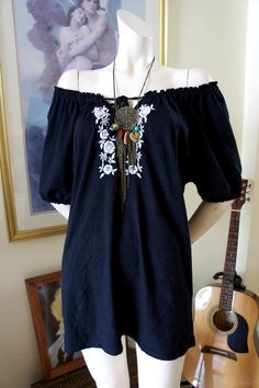 Vintage 80s Gypsy Black Embroidered Hippie Bohemian Peasant off shoulder Tunic Blouse Top Dress XL on Etsy, $55.00