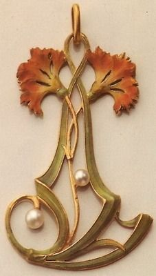 orange, green, pearl, and gold Vever pendant Paris, art nouveau Bijoux Art Nouveau, Art Nouveau Jewelry, Jewelry Art, Antique Jewelry, Vintage Jewelry, Jewelry Design, Gold Jewelry, Jewlery, Flores Art Nouveau